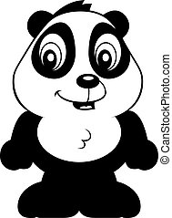 Baby Panda - A cartoon baby panda bear cub smiling and...