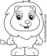 EPS Vector of Baby Lion - A cartoon baby lion cub smiling and ...