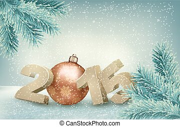 Christmas background with a 2015. Vector.