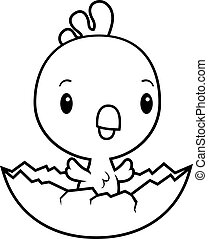 Cartoon Baby Rooster Hatching - A cartoon illustration of a...