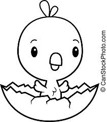 Cartoon Baby Chick Hatching - A cartoon illustration of a...