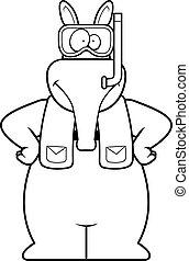 Cartoon Aardvark Snorkeling - A cartoon illustration of an...