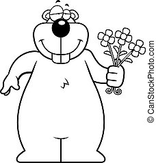 Gopher Flowers - A happy cartoon gopher with a bouquet of...