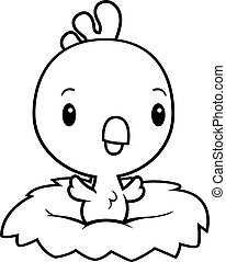 Cartoon Baby Rooster Nest - A cartoon illustration of a baby...