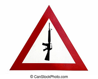 Guns forbidden - Red triangle warning sign that says arms...