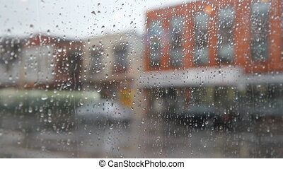 Rainy city Pedestrians - View of rainy street People with...