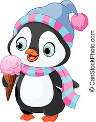 Penguin eats an ice cream - Cute penguin with hat and scarf...