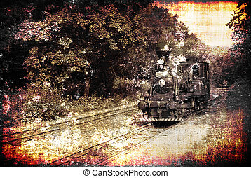 Old train - Ancient steam locomotive on a vintage railroad,...