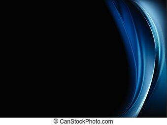 Blue waves on black background Vector design