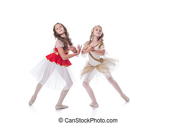 Shot of graceful young ballerinas posing at camera - Studio...