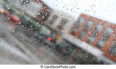 Rainy day in the city Diagonal - View of rainy street from...