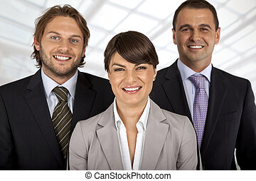 positive business team of three