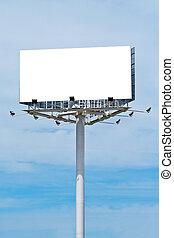 Blank billboard on cloudy sky