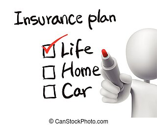insurance plan checklist checking by 3d man over transparent...
