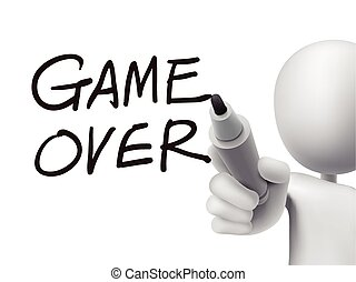 game over words written by 3d man