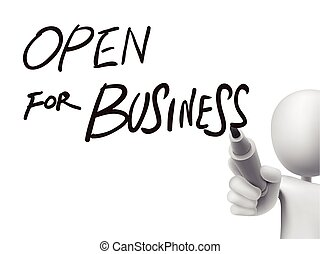 open for business written by 3d man over transparent board