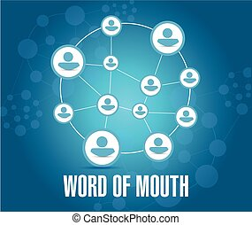 word of mouth people network illustration design over a blue...