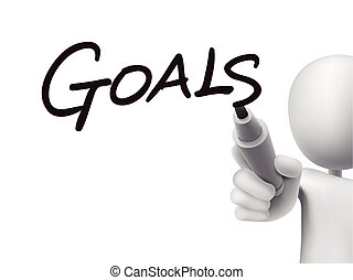 goals word written by 3d man over transparent board