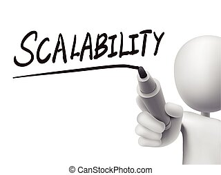 scalability word written by 3d man over transparent board
