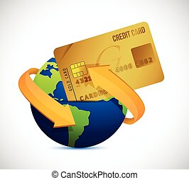 global business globe and credit card illustration design...