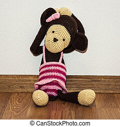 Knitted monkey doll Old toy