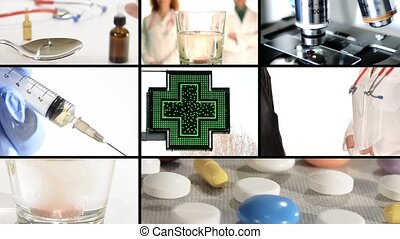 pharmacy composition - Pharmaceutical research montage....