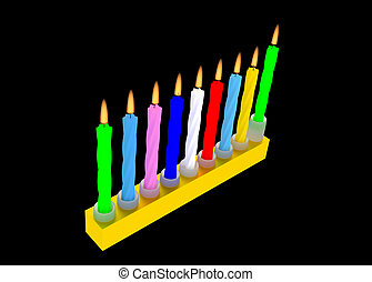 illustration of Jewish Menorah with colorful Hanuka candles