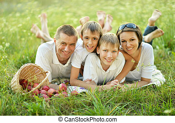 Family on a picnic - Family of four is having picnic in...