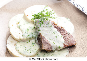 dill sauce with beef meat