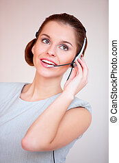 Pretty Customer Service Woman - Close up Pretty Young...