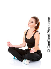 Pretty Healthy Woman in Yoga Pose - Close upPretty Young...