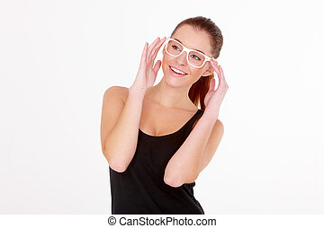 Happy Woman in Black Shirt and White Eye Wear - Half Body...