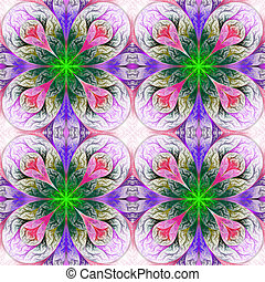 Pattern from four fractals in pink, blue and green. Computer...
