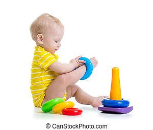 面白い, おもちゃ, カラフルである, 男の子, 赤ん坊, 遊び