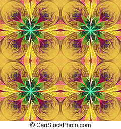 Pattern from fractal flowes in yellow and green Computer...