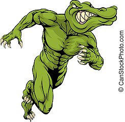 Alligator or crocodile mascot running