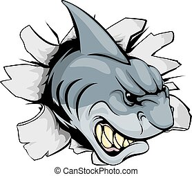 Shark ripping through background - A shark sports mascot or...