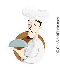 Chef with food tray - vector illustration of a chef holding...