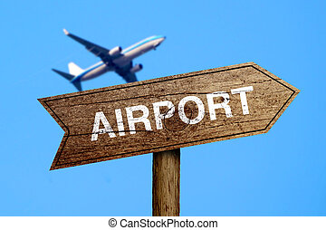 Airport Road Sign - Airport road sign with the background of...