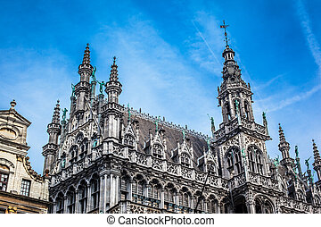 Brussels - Architectural detail in the Grand Place of...