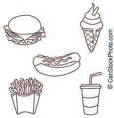 Fast Food Object Collection Hand Drawn Sketch Doodle