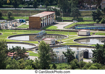 Sewage treatment plant - Round settlers at sewage treatment...