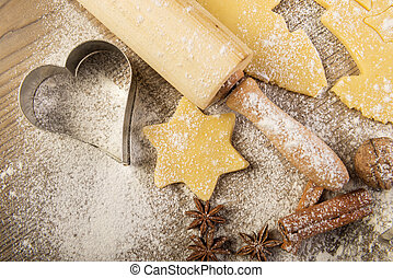 Christmas baking, cookies, rolling pin, spices