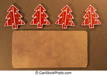 Christmas decoration tag - Empty tag with four Christmas...