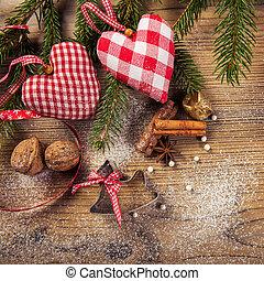 Christmas decoration, idyllic compilation, the wood...