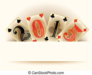 Happy new 2015 year casino poker cards, vector