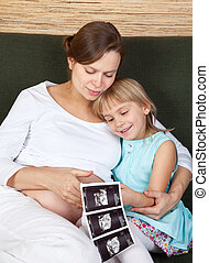 Pregnant woman with with daughter and sonography report -...
