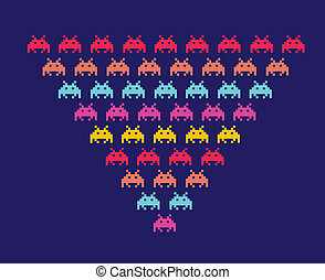 Space Invaders - Illustration of space aliens Vector format...