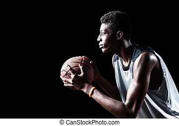 Basketball player - Young basketball player isolated on...
