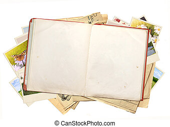 Old book and photos Objects isolated on white background